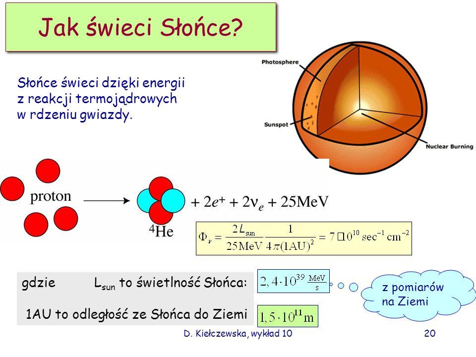 D. Kiełczewska, wykład 1019 Reakcje fuzji termojądrowej w Słońcu p+p> e +e + +d 0.42MeV max p+ e - + p> e +d 1.44 MeV d+p> + 3 He 3 He+ 3 He> 4 He+p+p