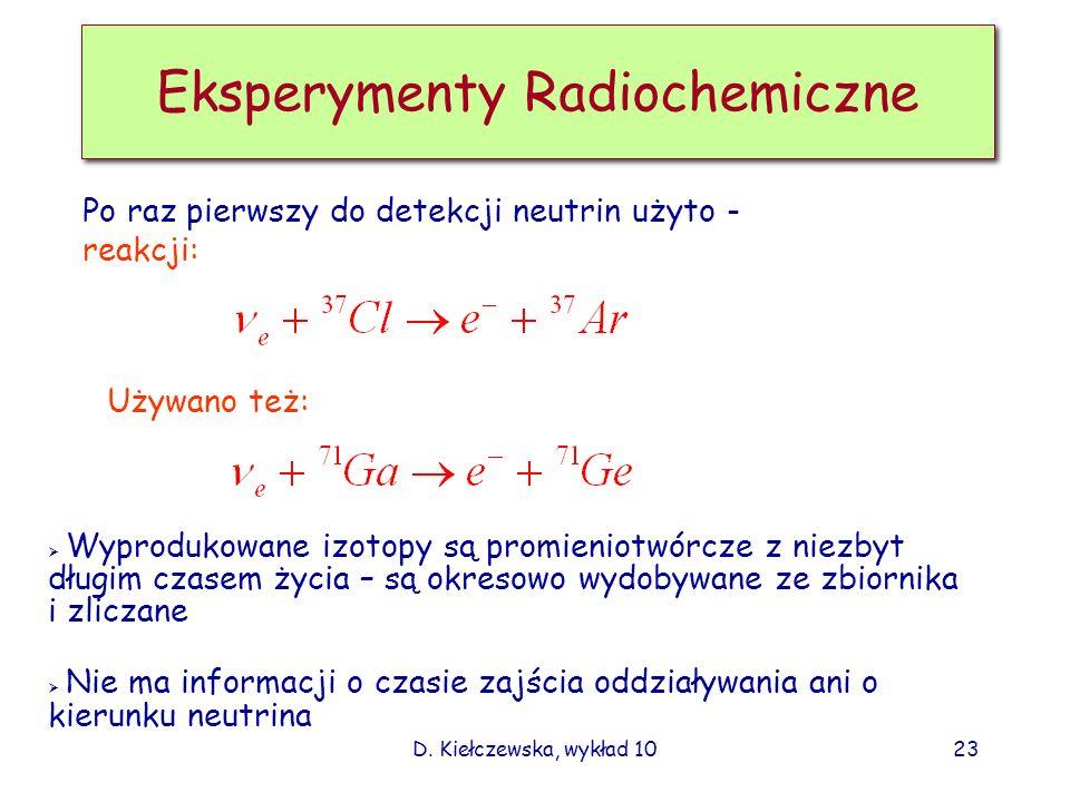 D. Kiełczewska, wykład 1022 Widmo energetyczne neutrin słonecznych Uwaga: tylko e