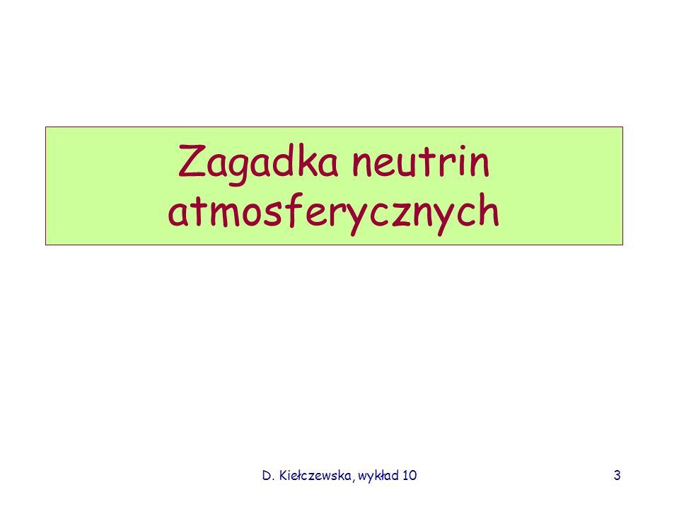 D. Kiełczewska, wykład 102 Z aktywnych jąder galaktyk Naturalne źródła neutrin Słoneczne Z supernowej w centrum Gal. Z wnętrza Ziemi Pozostałe z wielk