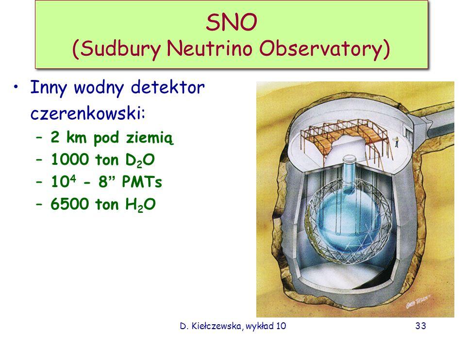 D. Kiełczewska, wykład 1032 Klucz do zagadki neutrin słonecznych W kilku eksperymentach obserwujemy deficyt Eksperymenty radiochemiczne mierzyły tylko