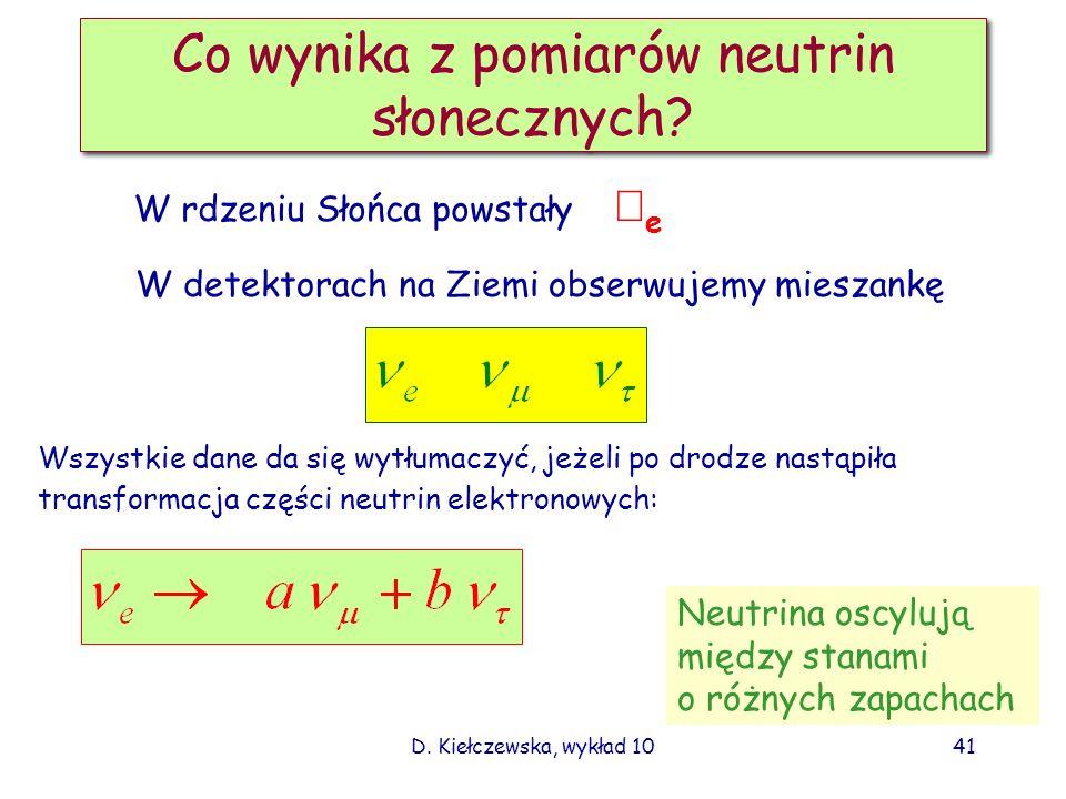 D. Kiełczewska, wykład 1040 Wyniki pomiarów neutrin słonecznych