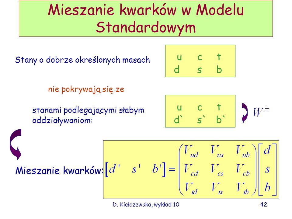D. Kiełczewska, wykład 1041 Co wynika z pomiarów neutrin słonecznych? W rdzeniu Słońca powstały: e W detektorach na Ziemi obserwujemy mieszankę: Wszys