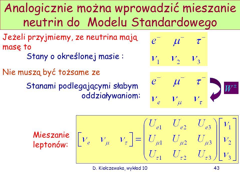 D. Kiełczewska, wykład 1042 Mieszanie kwarków w Modelu Standardowym uc t d`s` b` Stany o dobrze określonych masach nie pokrywają się ze uc t ds b stan