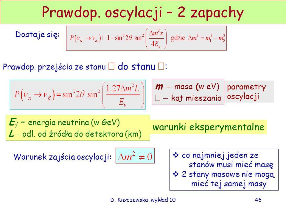 D. Kiełczewska, wykład 1045 Prawdopodobieństwo oscylacji – 2 zapachy Stan o masie m k, energii i pędzie E k,p k propaguje się : Załóżmy stan początkow