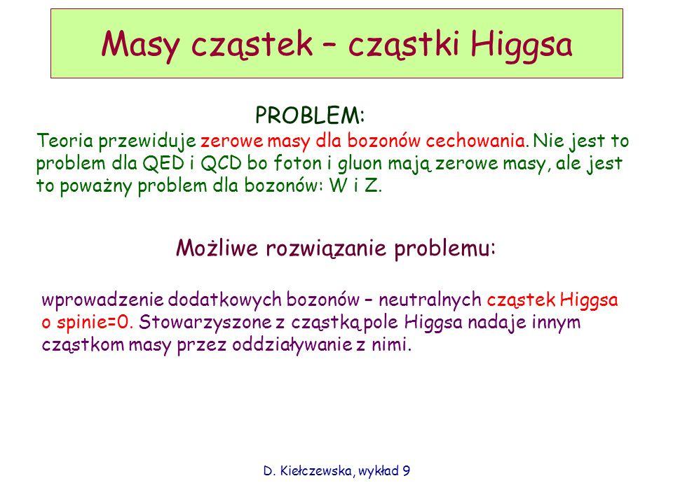 D. Kiełczewska, wykład 9 Masy cząstek – cząstki Higgsa PROBLEM: Teoria przewiduje zerowe masy dla bozonów cechowania. Nie jest to problem dla QED i QC