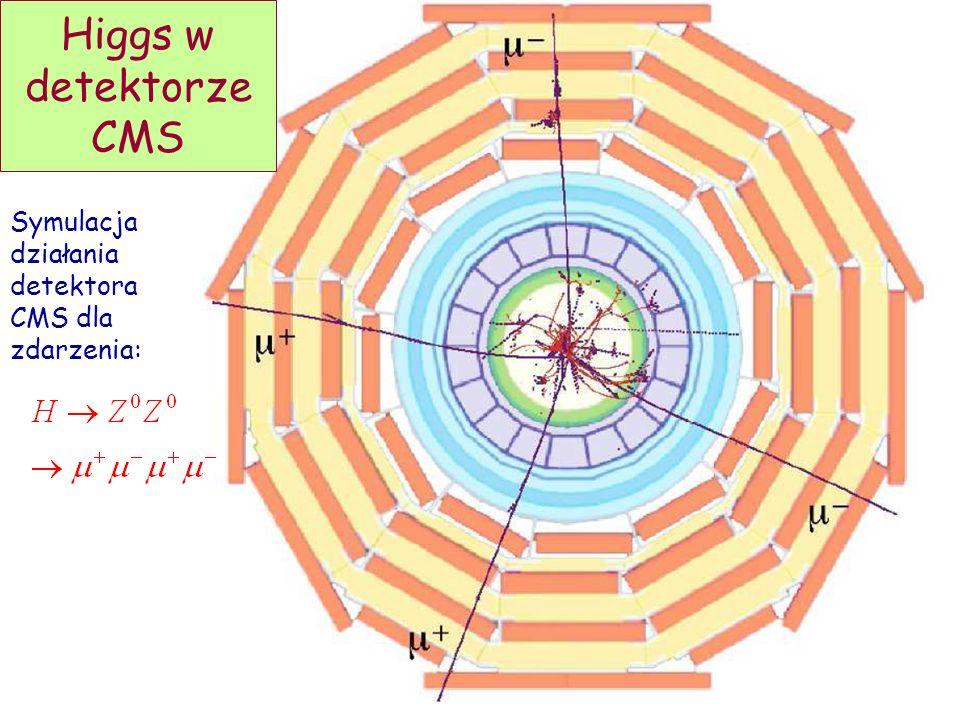 Higgs w detektorze CMS Symulacja działania detektora CMS dla zdarzenia:
