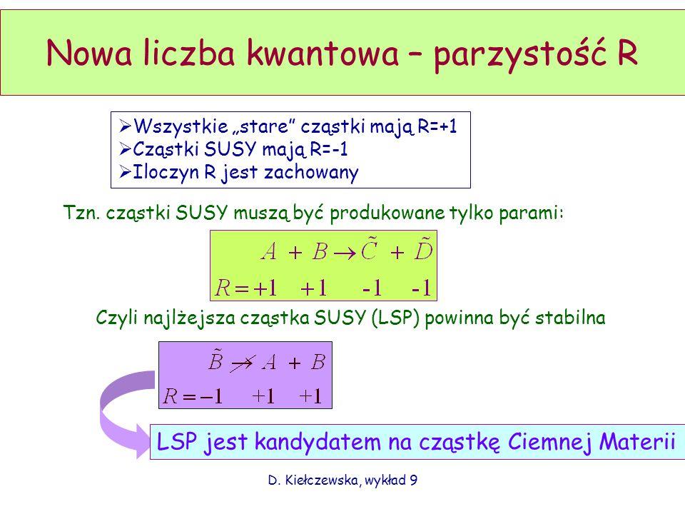 D. Kiełczewska, wykład 9 Nowa liczba kwantowa – parzystość R Wszystkie stare cząstki mają R=+1 Cząstki SUSY mają R=-1 Iloczyn R jest zachowany Tzn. cz