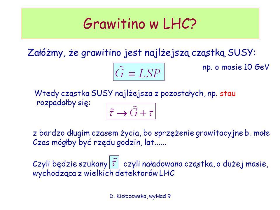 D. Kiełczewska, wykład 9 Grawitino w LHC? Załóżmy, że grawitino jest najlżejszą cząstką SUSY: Wtedy cząstka SUSY najlżejsza z pozostałych, np. stau ro