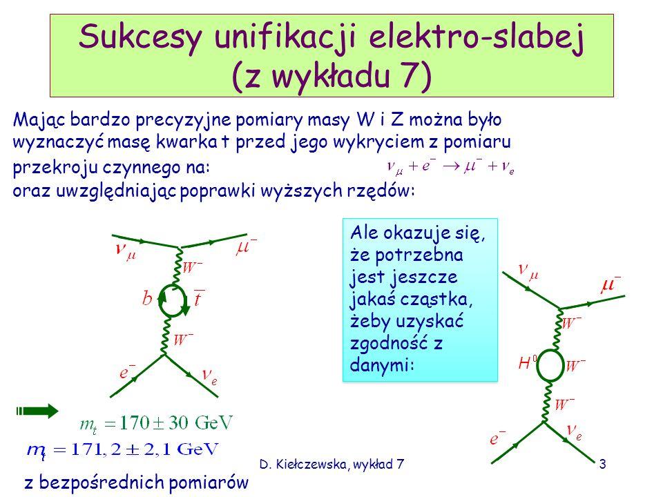 D. Kiełczewska, wykład 73 Sukcesy unifikacji elektro-slabej (z wykładu 7) Mając bardzo precyzyjne pomiary masy W i Z można było wyznaczyć masę kwarka