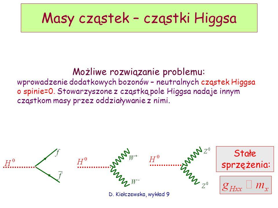 D. Kiełczewska, wykład 9 Masy cząstek – cząstki Higgsa Możliwe rozwiązanie problemu: wprowadzenie dodatkowych bozonów – neutralnych cząstek Higgsa o s