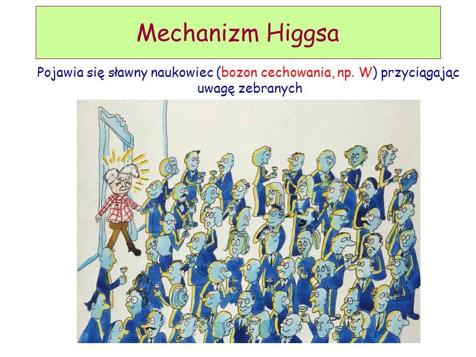 D. Kiełczewska, wykład 9 Mechanizm Higgsa Pojawia się sławny naukowiec (bozon cechowania, np. W) przyciągając uwagę zebranych