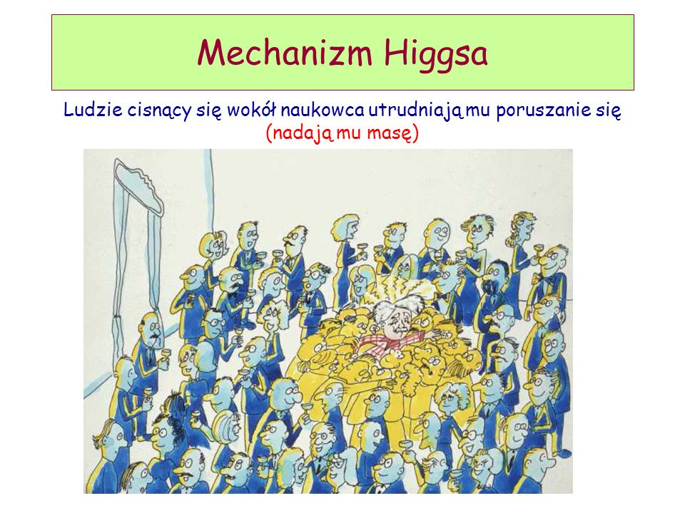 D. Kiełczewska, wykład 9 Mechanizm Higgsa Ludzie cisnący się wokół naukowca utrudniają mu poruszanie się (nadają mu masę)