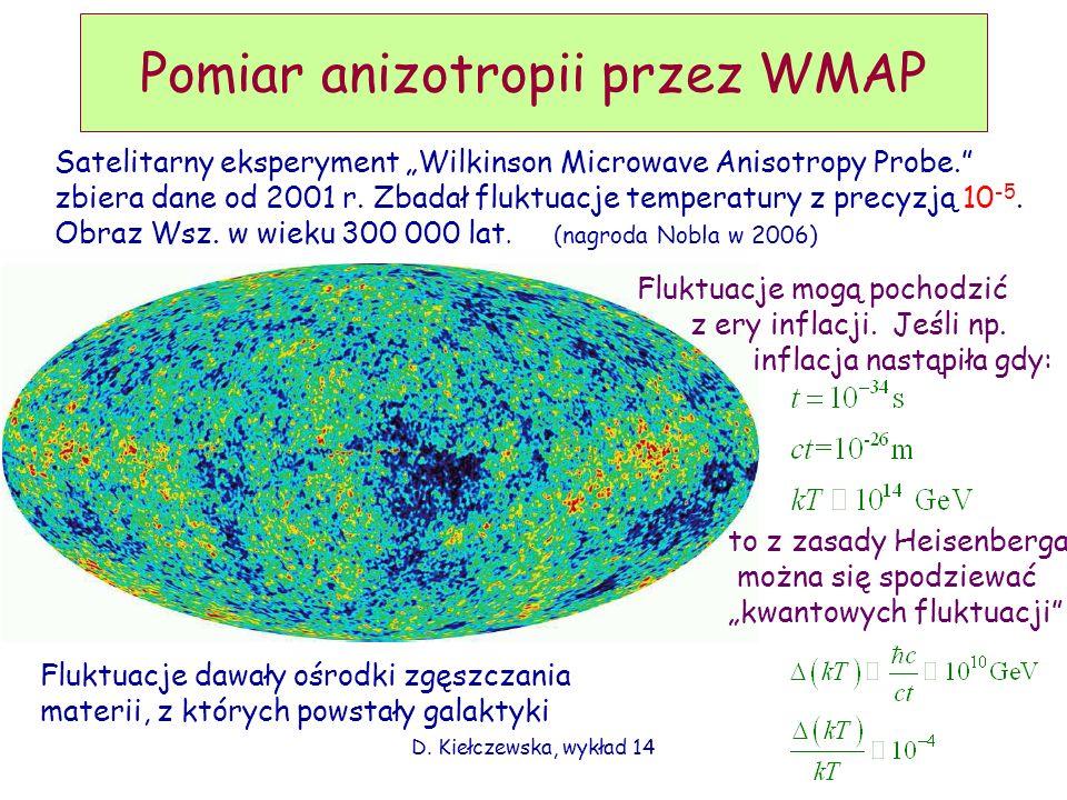 D. Kiełczewska, wykład 14 Pomiar anizotropii przez WMAP Satelitarny eksperyment Wilkinson Microwave Anisotropy Probe. zbiera dane od 2001 r. Zbadał fl