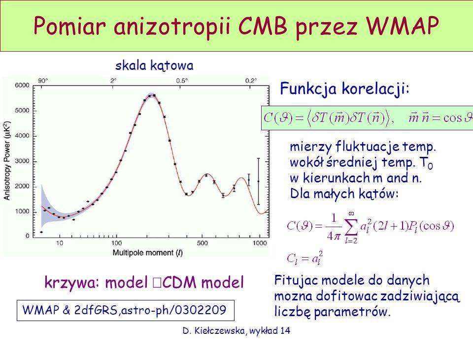 D. Kiełczewska, wykład 14 Pomiar anizotropii CMB przez WMAP WMAP & 2dfGRS,astro-ph/0302209 Funkcja korelacji: mierzy fluktuacje temp. wokół średniej t