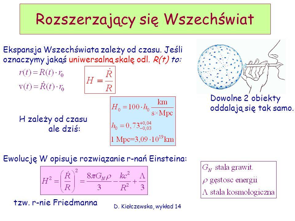 D. Kiełczewska, wykład 14 Rozszerzający się Wszechświat Ekspansja Wszechświata zależy od czasu. Jeśli oznaczymy jakąś uniwersalną skalę odl. R(t) to: