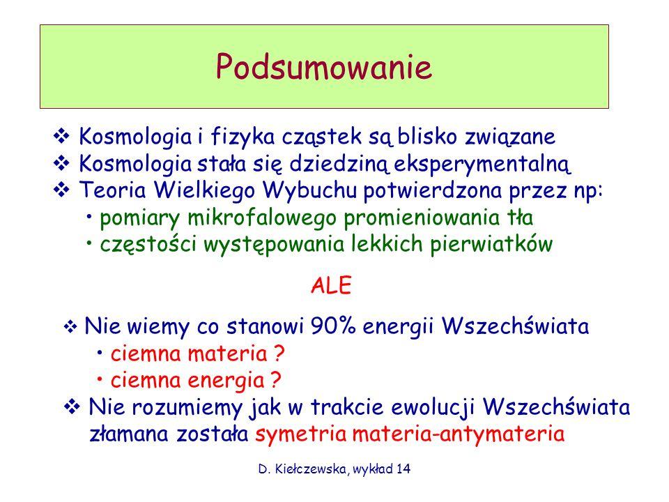 D. Kiełczewska, wykład 14 Podsumowanie Kosmologia i fizyka cząstek są blisko związane Kosmologia stała się dziedziną eksperymentalną Teoria Wielkiego