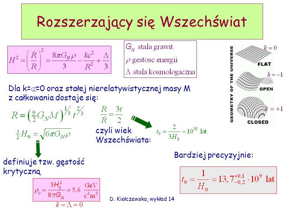 D. Kiełczewska, wykład 14 Rozszerzający się Wszechświat Dla k= Λ =0 oraz stałej nierelatywistycznej masy M z całkowania dostaje się: czyli wiek Wszech