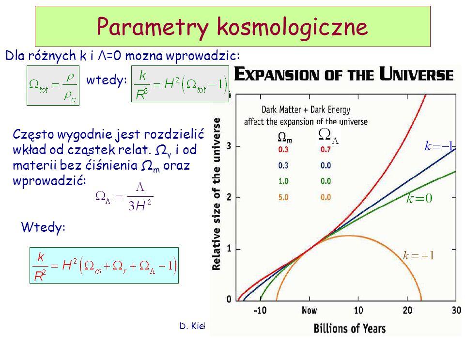 Parametry kosmologiczne Dla różnych k i Λ =0 mozna wprowadzic: wtedy: Często wygodnie jest rozdzielić wkład od cząstek relat. Ω γ i od materii bez ćiś