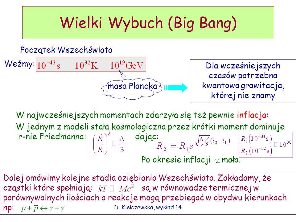 D. Kiełczewska, wykład 14 Wielki Wybuch (Big Bang) Początek Wszechświata Weźmy: masa Plancka Dla wcześniejszych czasów potrzebna kwantowa grawitacja,
