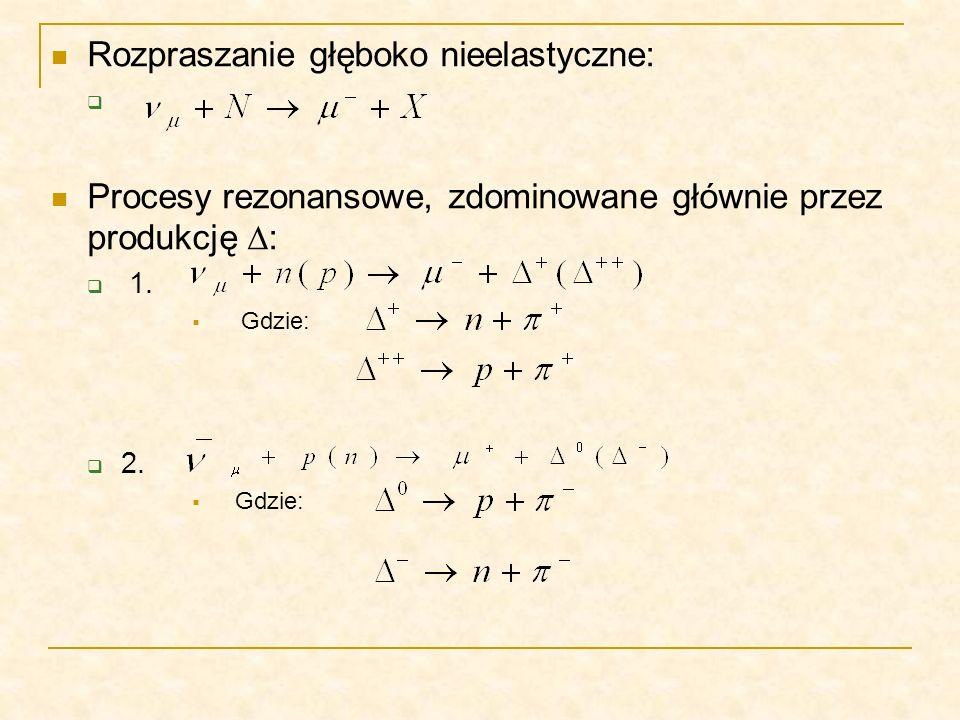 Rozpraszanie głęboko nieelastyczne: Procesy rezonansowe, zdominowane głównie przez produkcję : 1. Gdzie: 2. Gdzie:
