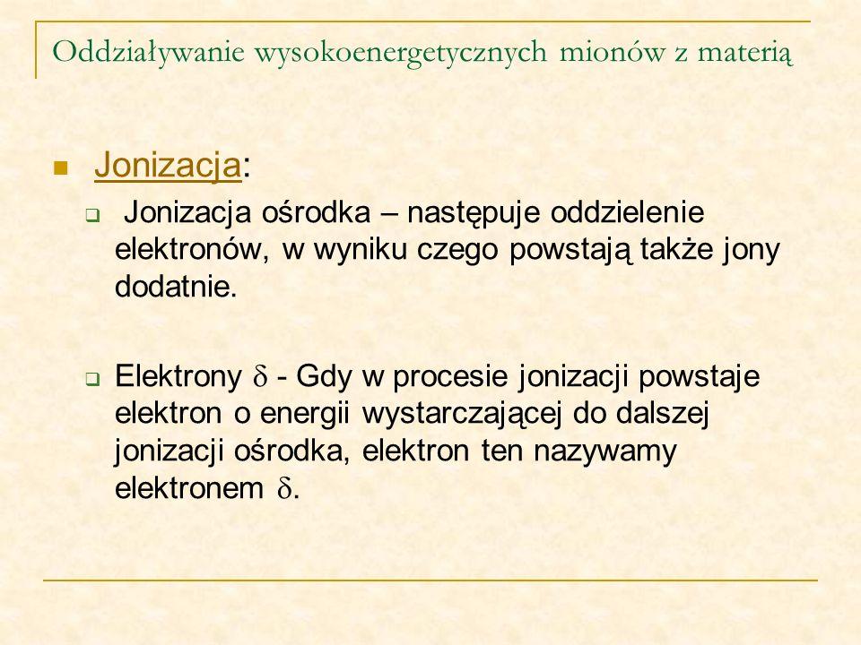Oddziaływanie wysokoenergetycznych mionów z materią Jonizacja:Jonizacja Jonizacja ośrodka – następuje oddzielenie elektronów, w wyniku czego powstają