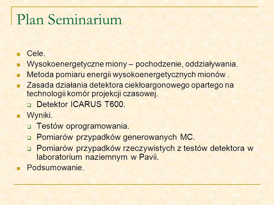 Plan Seminarium Cele. Wysokoenergetyczne miony – pochodzenie, oddziaływania. Metoda pomiaru energii wysokoenergetycznych mionów. Zasada działania dete