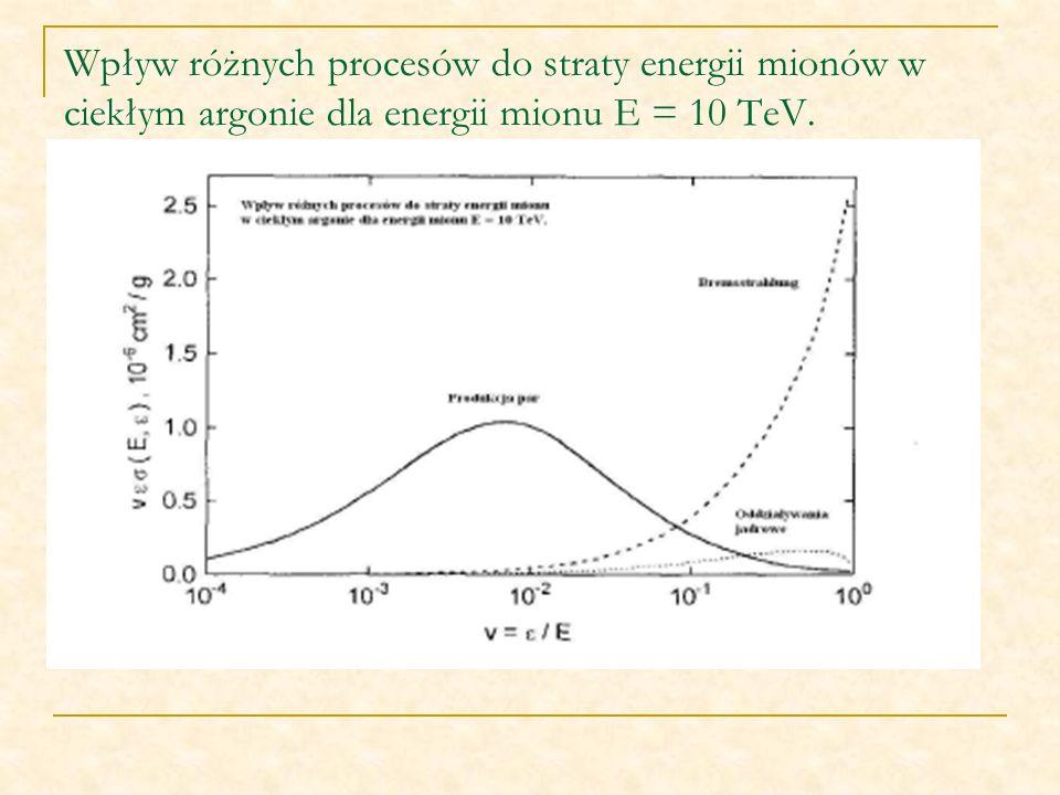 Wpływ różnych procesów do straty energii mionów w ciekłym argonie dla energii mionu E = 10 TeV.