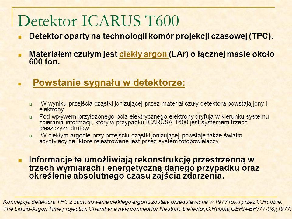 Detektor oparty na technologii komór projekcji czasowej (TPC). Materiałem czułym jest ciekły argon (LAr) o łącznej masie około 600 ton.ciekły argon Po
