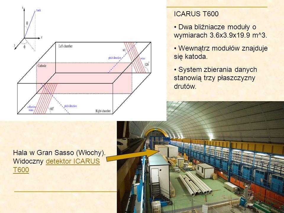 Hala w Gran Sasso (Włochy). Widoczny detektor ICARUSdetektor ICARUS T600 ICARUS T600 Dwa bliźniacze moduły o wymiarach 3.6x3.9x19.9 m^3. Wewnątrz modu