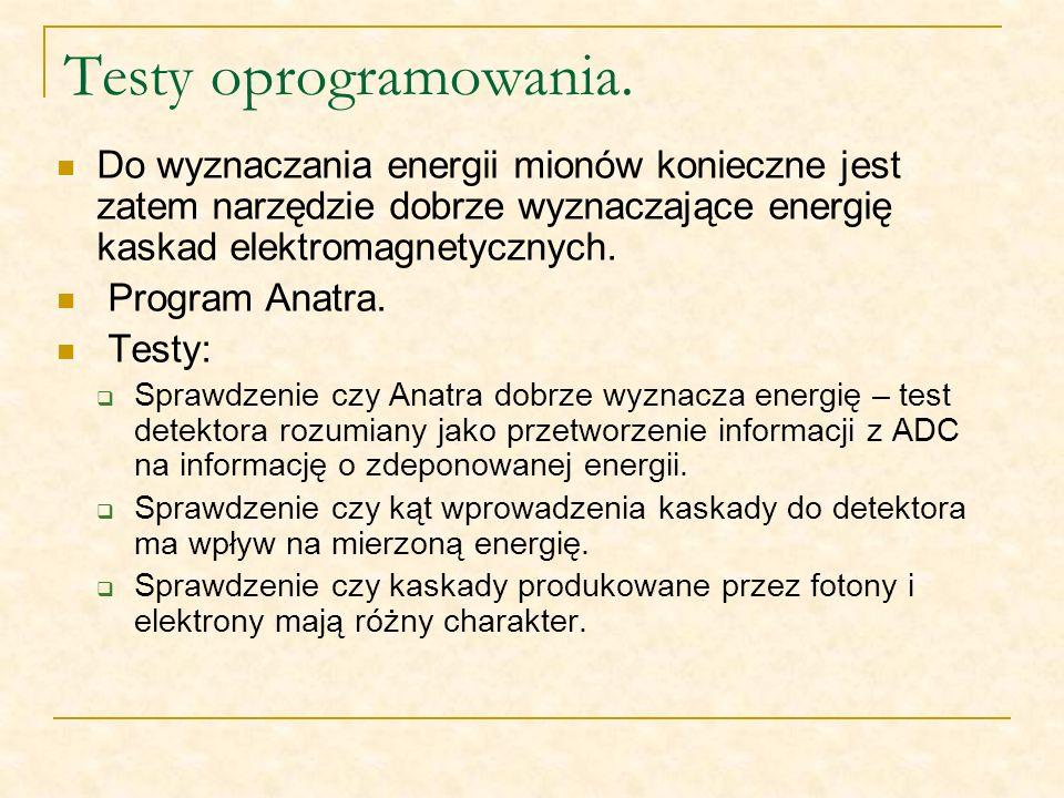 Testy oprogramowania. Do wyznaczania energii mionów konieczne jest zatem narzędzie dobrze wyznaczające energię kaskad elektromagnetycznych. Program An