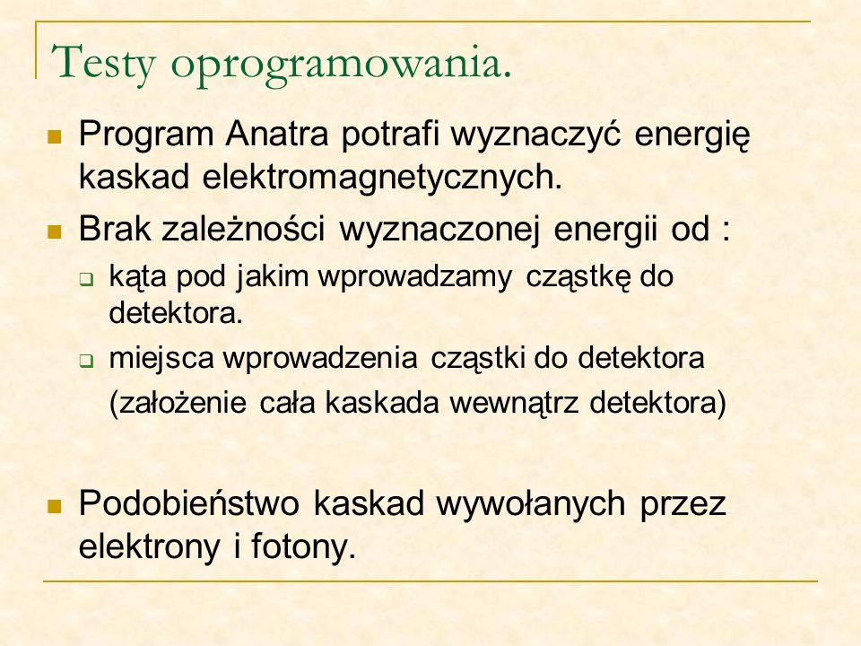 Testy oprogramowania. Program Anatra potrafi wyznaczyć energię kaskad elektromagnetycznych. Brak zależności wyznaczonej energii od : kąta pod jakim wp