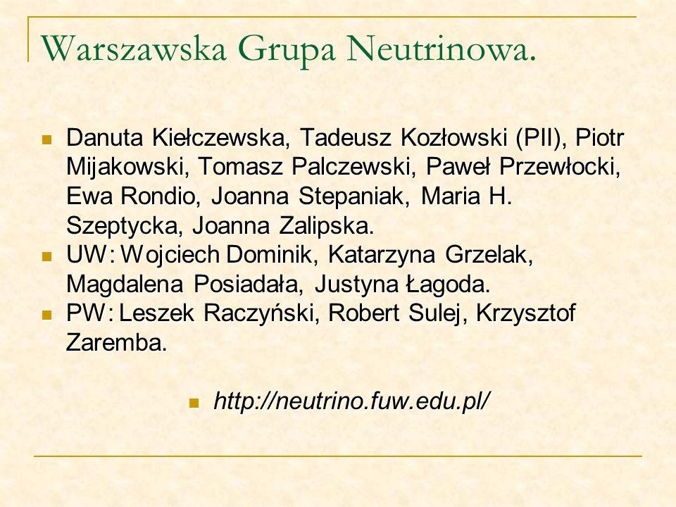 Warszawska Grupa Neutrinowa. Danuta Kiełczewska, Tadeusz Kozłowski (PII), Piotr Mijakowski, Tomasz Palczewski, Paweł Przewłocki, Ewa Rondio, Joanna St