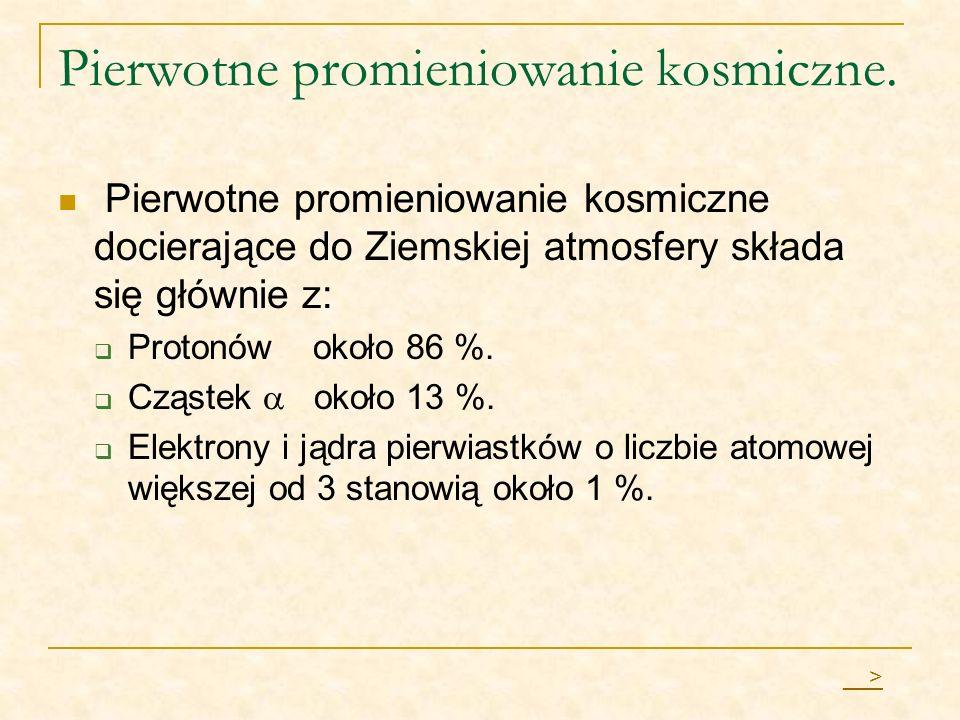 Pierwotne promieniowanie kosmiczne. Pierwotne promieniowanie kosmiczne docierające do Ziemskiej atmosfery składa się głównie z: Protonów około 86 %. C