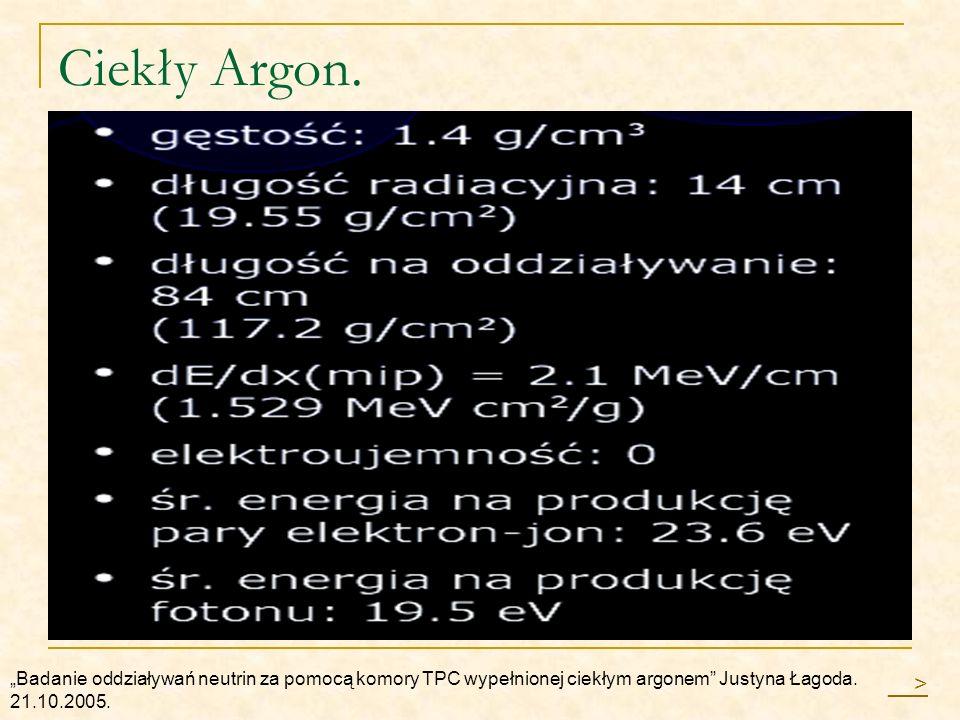 Ciekły Argon. Badanie oddziaływań neutrin za pomocą komory TPC wypełnionej ciekłym argonem Justyna Łagoda. 21.10.2005. __>