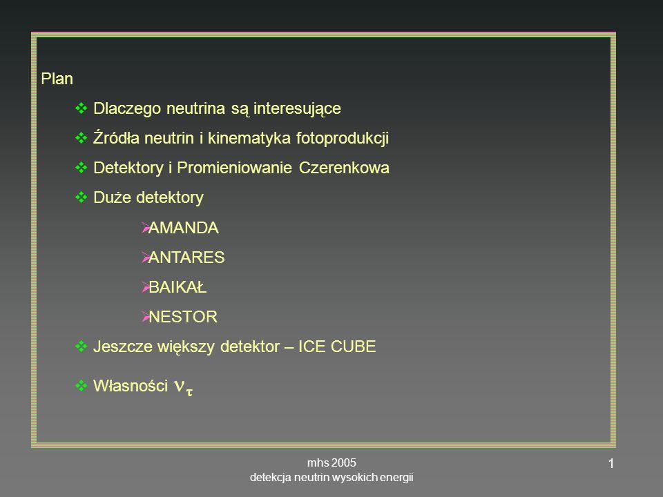 mhs 2005 detekcja neutrin wysokich energii 32 ANTARES, głębokość 2400mOM optical module tutaj – fotopowielacz Antares horneffer ANTARES nie ma jeszcze wyników Ma rozkład kątowy z atmosfery Jest w fazie montażu i testów, pełny detektor w 2004 (250 z 900 OM zamontowanych w X 2004) http://antares.in2p3.fr/index-fr.html www.shef.ac.uk/physics/idm2002/ talks/originals/cartwright.ppt Thwww.if.uj.edu.pl/acta/vol36/pdf/v36p0 509.pdf montaruli