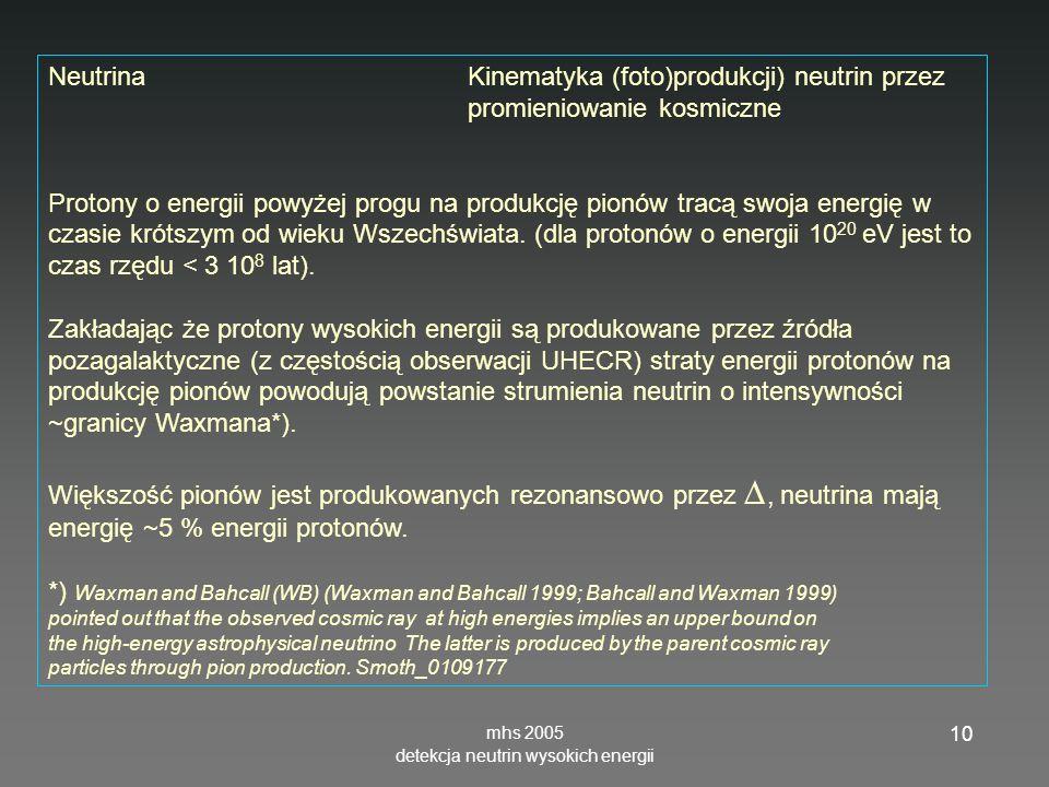 mhs 2005 detekcja neutrin wysokich energii 10 NeutrinaKinematyka (foto)produkcji) neutrin przez promieniowanie kosmiczne Protony o energii powyżej pro