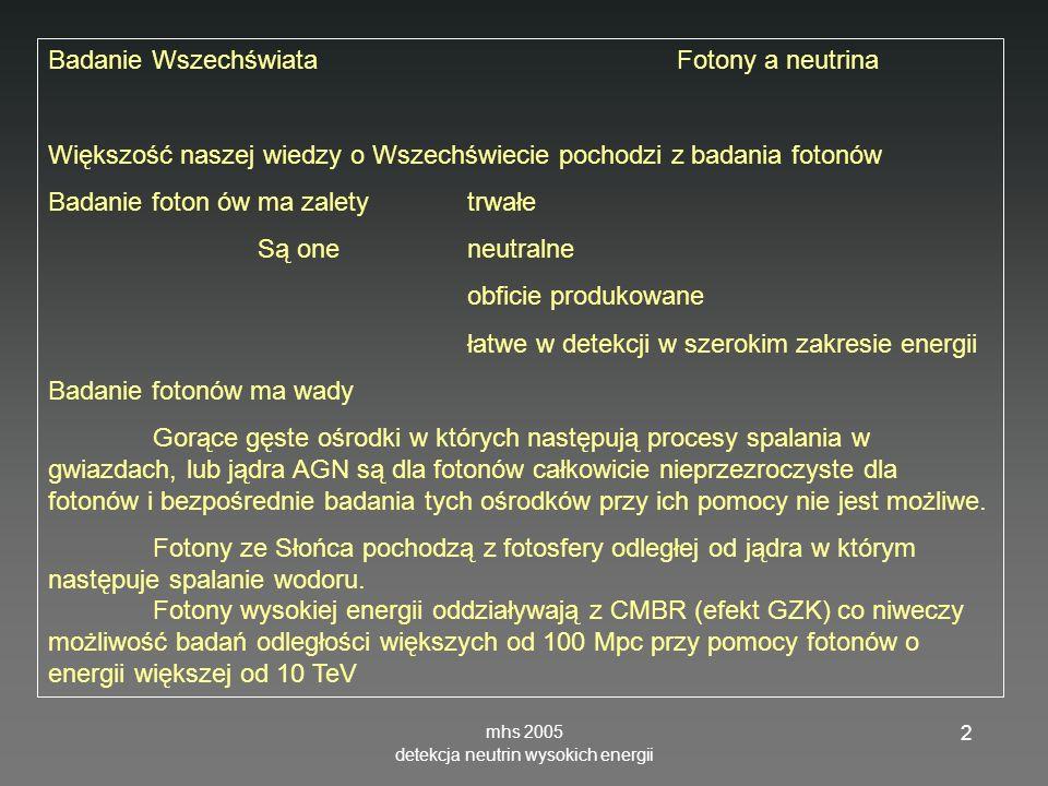 mhs 2005 detekcja neutrin wysokich energii 43 AMANDAII Hulth Fotopowielacze: Hamamatsu 20 cm 14 dynod Wzmocnienie 10 9 Próg 50 GeV Efektywna powierzchnia 10 4 m 2 dla 1 TeV Thesis 06142004 = 200m
