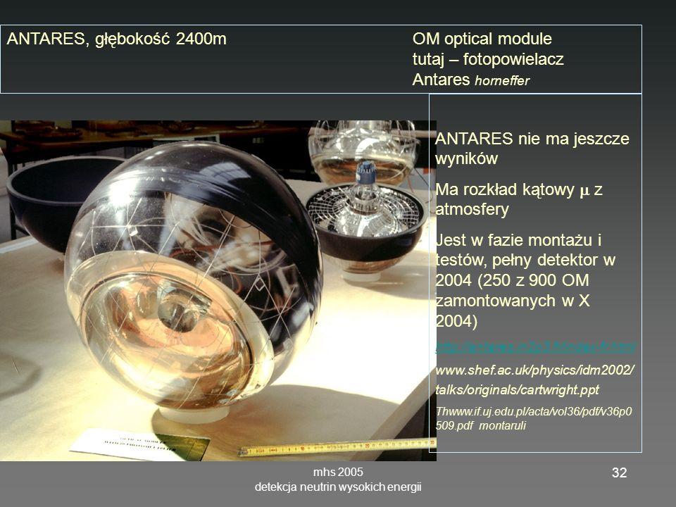 mhs 2005 detekcja neutrin wysokich energii 32 ANTARES, głębokość 2400mOM optical module tutaj – fotopowielacz Antares horneffer ANTARES nie ma jeszcze