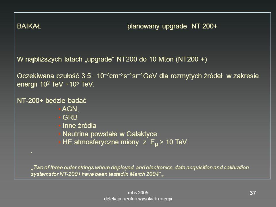 mhs 2005 detekcja neutrin wysokich energii 37 BAIKAŁ planowany upgrade NT 200+ W najbliższych latach upgrade NT200 do 10 Mton (NT200 +) Oczekiwana czu