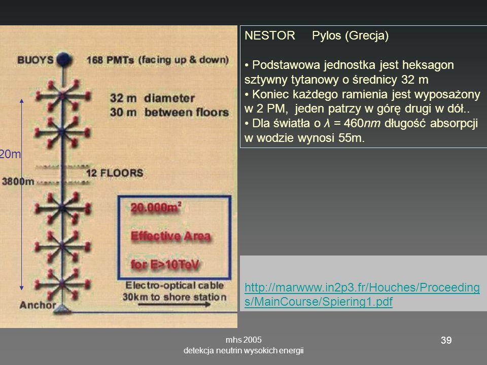 mhs 2005 detekcja neutrin wysokich energii 39 NESTOR Pylos (Grecja) Podstawowa jednostka jest heksagon sztywny tytanowy o średnicy 32 m Koniec każdego ramienia jest wyposażony w 2 PM, jeden patrzy w górę drugi w dół..