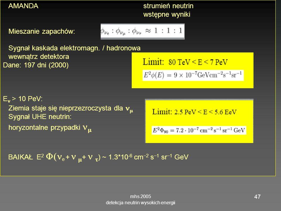 mhs 2005 detekcja neutrin wysokich energii 47 AMANDA strumień neutrin wstępne wyniki Mieszanie zapachów: Sygnał kaskada elektromagn. / hadronowa wewną