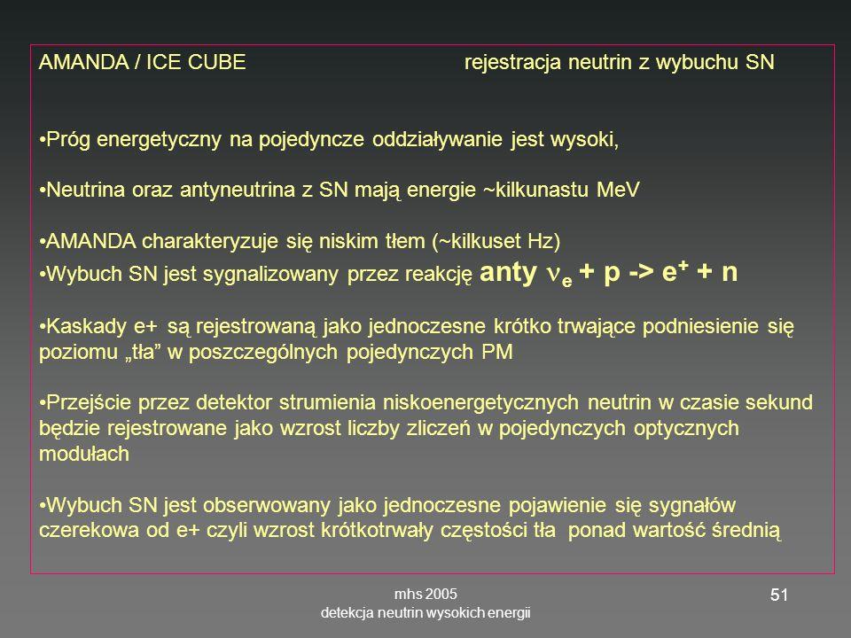 mhs 2005 detekcja neutrin wysokich energii 51 AMANDA / ICE CUBE rejestracja neutrin z wybuchu SN Próg energetyczny na pojedyncze oddziaływanie jest wysoki, Neutrina oraz antyneutrina z SN mają energie ~kilkunastu MeV AMANDA charakteryzuje się niskim tłem (~kilkuset Hz) Wybuch SN jest sygnalizowany przez reakcję anty e + p -> e + + n Kaskady e+ są rejestrowaną jako jednoczesne krótko trwające podniesienie się poziomu tła w poszczególnych pojedynczych PM Przejście przez detektor strumienia niskoenergetycznych neutrin w czasie sekund będzie rejestrowane jako wzrost liczby zliczeń w pojedynczych optycznych modułach Wybuch SN jest obserwowany jako jednoczesne pojawienie się sygnałów czerekowa od e+ czyli wzrost krótkotrwały częstości tła ponad wartość średnią
