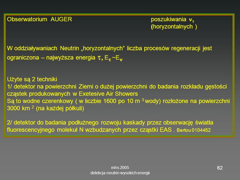 mhs 2005 detekcja neutrin wysokich energii 62 Obserwatorium AUGER poszukiwania (horyzontalnych ) W oddziaływaniach Neutrin horyzontalnych liczba procesów regeneracji jest ograniczona – najwyższa energia E ~E Użyte są 2 techniki 1/ detektor na powierzchni Ziemi o dużej powierzchni do badania rozkładu gęstości cząstek produkowanych w Exetesive Air Showers Są to wodne czerenkowy ( w liczbie 1600 po 10 m 3 wody) rozłożone na powierzchni 3000 km 2 (na każdej półkuli) 2/ detektor do badania podłużnego rozwoju kaskady przez obserwację światła fluorescencyjnego molekuł N wzbudzanych przez cząstki EAS.