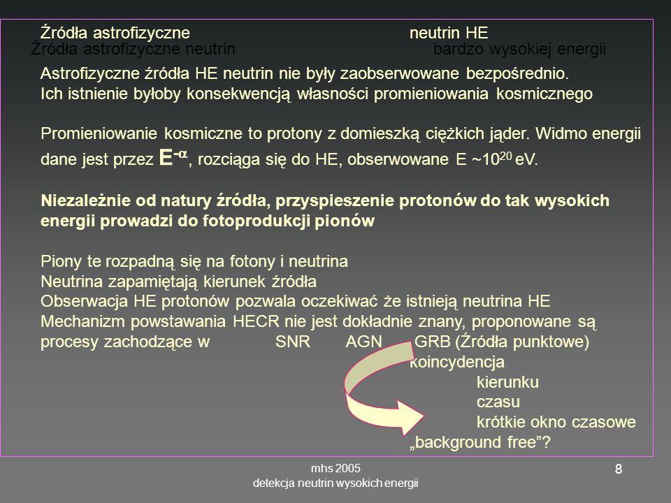 mhs 2005 detekcja neutrin wysokich energii 19 Oddziaływania neutrinKształty sygnału (kaskad) dla oddziaływań neutrin CC – NC - tła Oddziaływania CC e -> e : kaskada elektromagnetyczna nałożona na hadronową -> : kaskada hadronowa i przesunięta elektromagnetyczna Oddziaływania NC: e -> brak leptonu naładowanego, tylko kaskada hadronowa Tło mionowe – kaskada elektromagnetyczne CC mion + kaskada hadrnowa τ neutrino regeneration (double structure) will be visible in IceCube