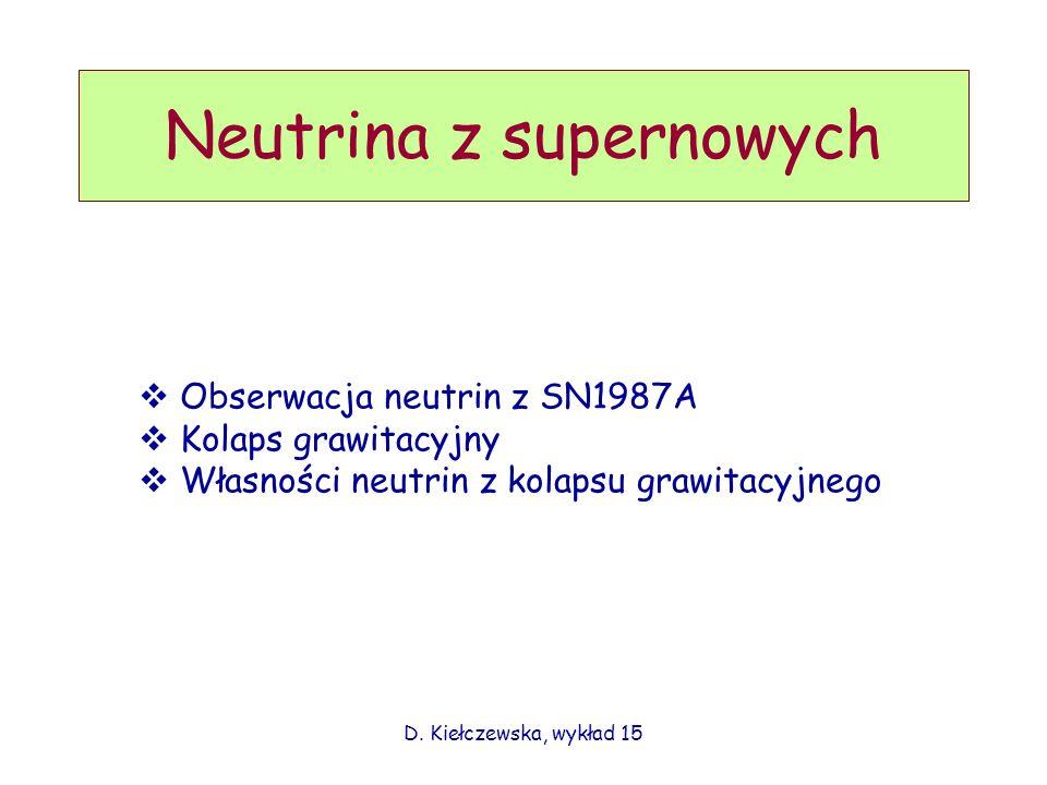 D. Kiełczewska, wykład 15 Obserwacja neutrin z SN1987A Kolaps grawitacyjny Własności neutrin z kolapsu grawitacyjnego Neutrina z supernowych
