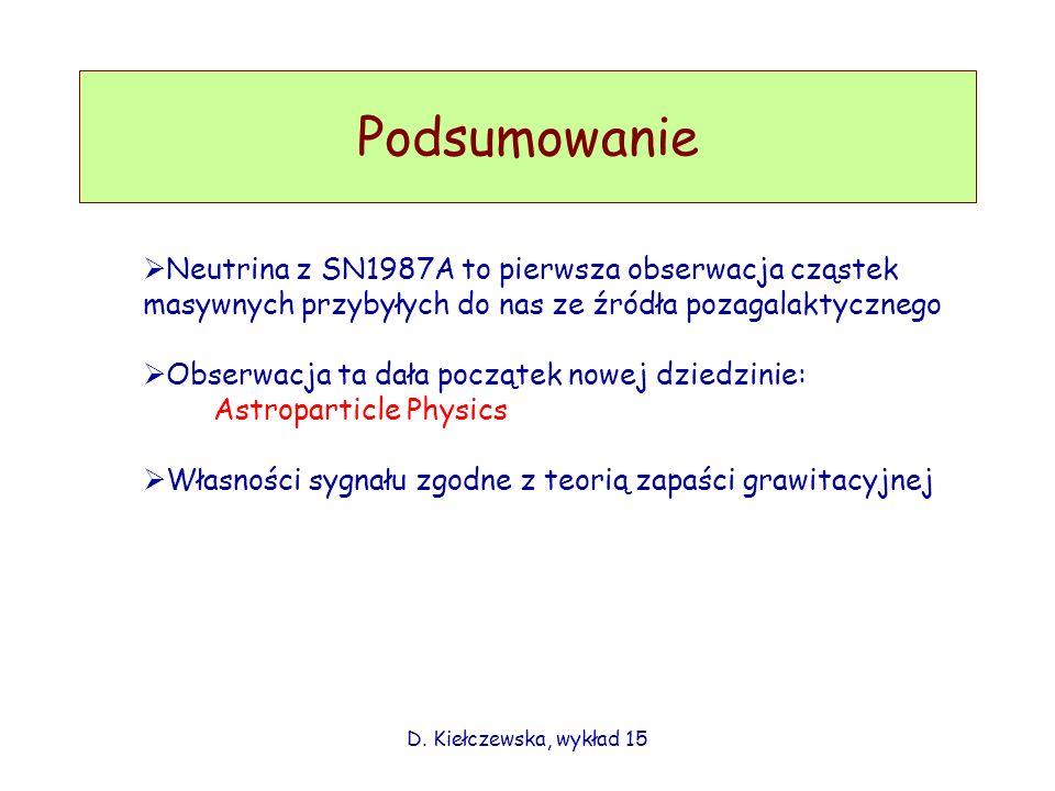 Podsumowanie D. Kiełczewska, wykład 15 Neutrina z SN1987A to pierwsza obserwacja cząstek masywnych przybyłych do nas ze źródła pozagalaktycznego Obser