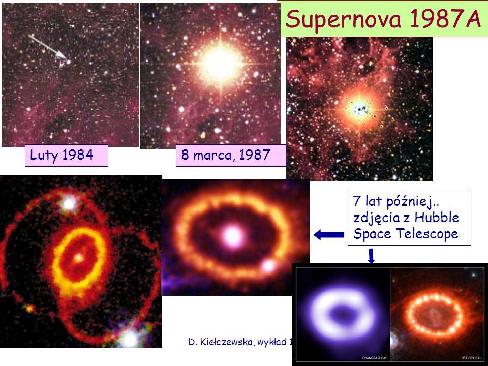 D. Kiełczewska, wykład 15 Supernova 1987A Luty 19848 marca, 1987 7 lat później.. zdjęcia z Hubble Space Telescope
