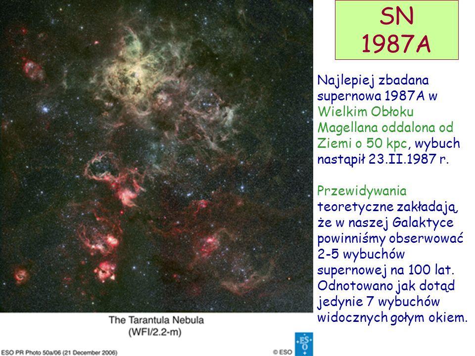 D. Kiełczewska, wykład 15 SN 1987A Najlepiej zbadana supernowa 1987A w Wielkim Obłoku Magellana oddalona od Ziemi o 50 kpc, wybuch nastąpił 23.II.1987