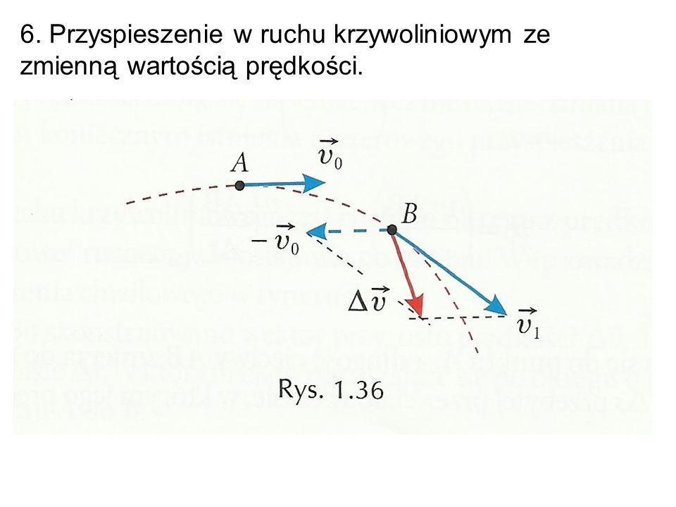 6. Przyspieszenie w ruchu krzywoliniowym ze zmienną wartością prędkości.