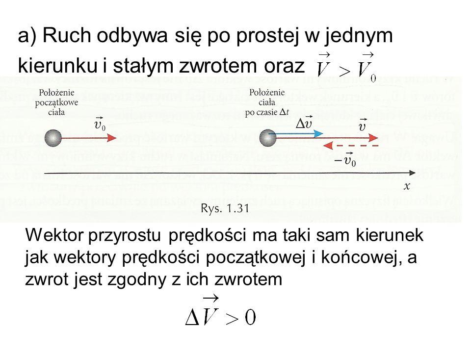 a) Ruch odbywa się po prostej w jednym kierunku i stałym zwrotem oraz Wektor przyrostu prędkości ma taki sam kierunek jak wektory prędkości początkowe